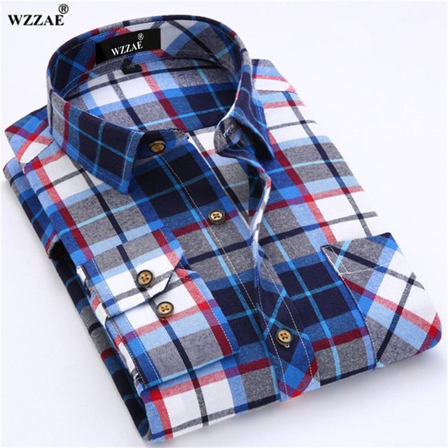 Promotion price WZZAE Men Red Plaid Shirt Fashion Brand Regular Fit Casual Shirt New Thicken Cotton Long Sleeve Male Flannel Social Dress Shirt just only $13.99 with free shipping worldwide  #shirtsformen Plese click on picture to see our special price for you