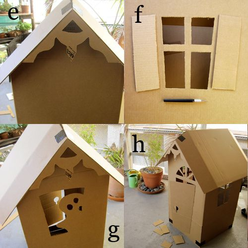 DYI Cardboard Haunted House  - I'm pinning this under Craft Ideas because the instructions can be used to make all kinds of houses such as gingerbread houses.