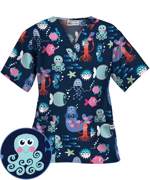 UA Sea Paparazzi Navy V-Neck Print Scrub Top | Pediatric Print Scrubs