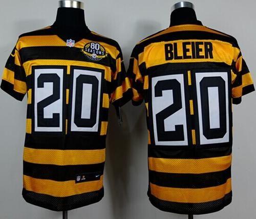 a4ed03c2c8f ... Nike Steelers Rocky Bleier YellowBlack Alternate Throwback Mens  Stitched NFL Elite Jersey And Taco Charlton 97 ...