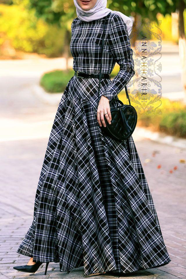 Checkered Print by ANNAH HARIRI - islamic clothing Autumn maxi dress Fall Hijab Inspo