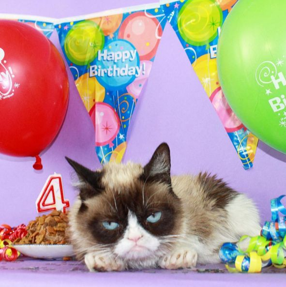 Grumpy Cat is a girl and her real name is Tardar Sauce. She grumped her way into the world on April 4, 2012. In Honor of Grumpy Cat's 4th Birthday Here's Some Stuff You Probably Didn't Know About the Internet's Favorite Feline