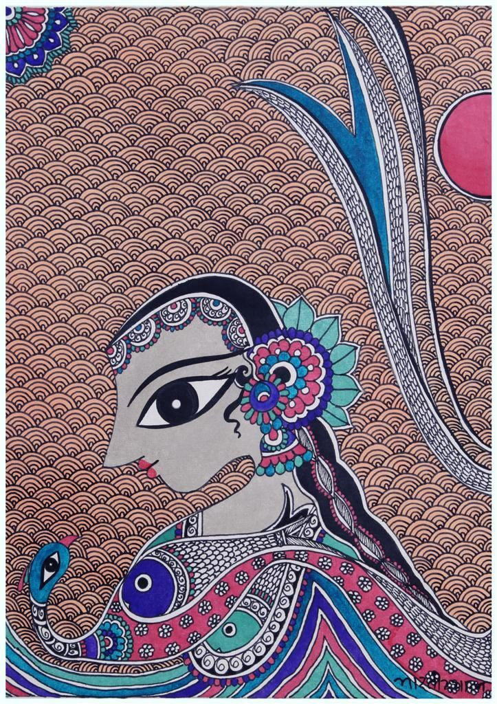 Madhubani painting, Indian folk art by Bharti Dayal   Indian ...