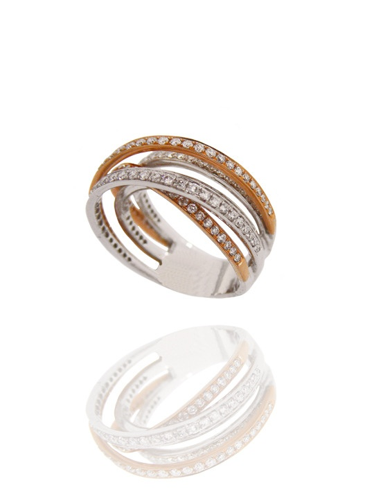 Saturn's Ring - overlapping 18k white and rose gold diamond bands - www.18karat.ca #jewellery #jewelry #ring