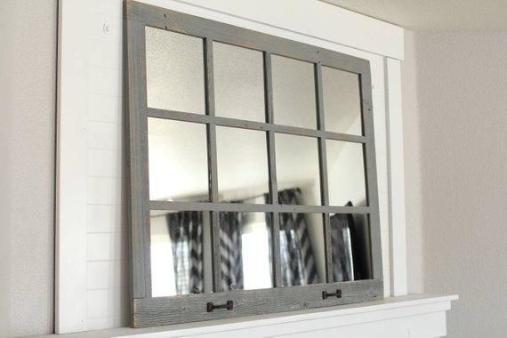 46 X 36 Homesteader Style 12 Pane Farmhouse Window Mirror Rustymilldecor Farmhouse Mirrors Window Pane Mirror Faux Window