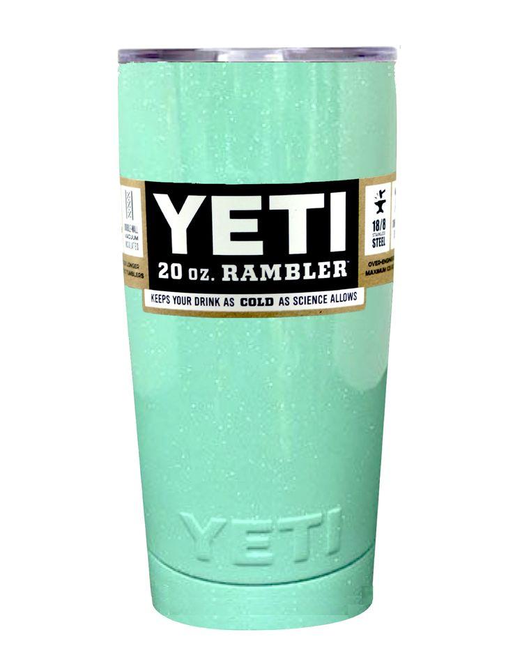 Seafoam Green Sparkle YETI 20 oz Rambler Tumbler Cup
