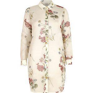Crème lang overhemd van chiffon met bloemenprint