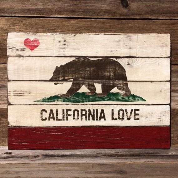 Reclaimed Wood California LOVE State Flag Painting