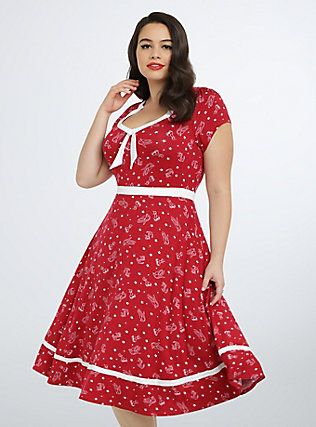 Retro Chic Anchor Skater Dress, CHERRY BOMB RETRO | Torrid