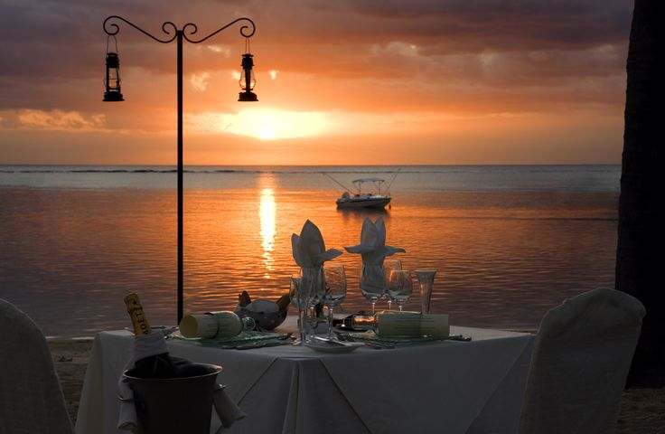 Dinner at sunset in #Mauritius