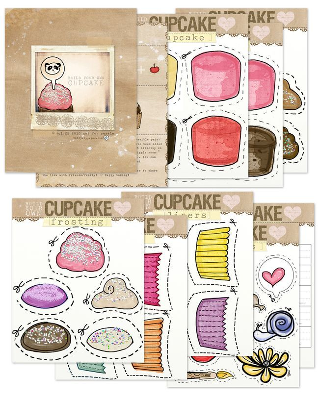 cute...free printable. build your own cupcake.