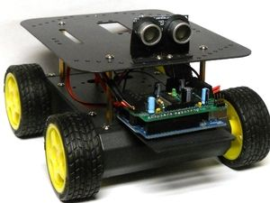 """Build Your Own Arduino Controlled Robot. This example from the popular """"Make"""" Movement shows that building robots is easy if you have the right parts. This Make: Project shows you how using readily available items from the Maker Shed. All you need is a 4WD platform, a motor shield, a PING))) sensor, and an Arduino Uno. Put everything together, load the code, and you'll have a great robot platform to build from.  Meets S1, S3, S4, S6, S8, E3, E1, E6, E2, E6, S2, & S5 Standards."""
