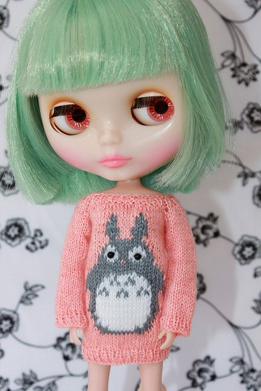 Neo BLYTHE - Dear TOTORO Sweater Tunic - Coral-Grey -- Limited - SALE