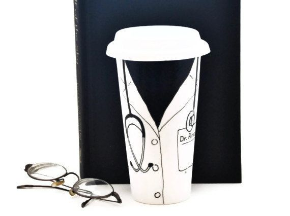 Doctor Coat Mug with Name - Personalized Travel Mug - Custom Ceramic Office Mug with Lid - Hand Painted Eco Cup on Etsy, $35.00