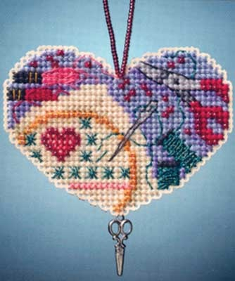 Love Stitching kit (cross stitch & beading)  on perforated paper