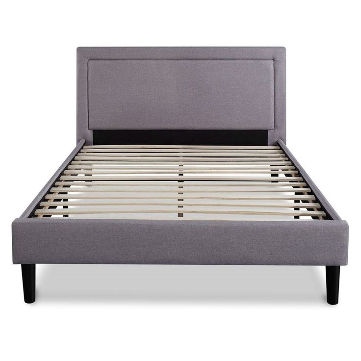 Queen size Platform Bed with Grey Upholstered Headboard and Piped Frame Detail