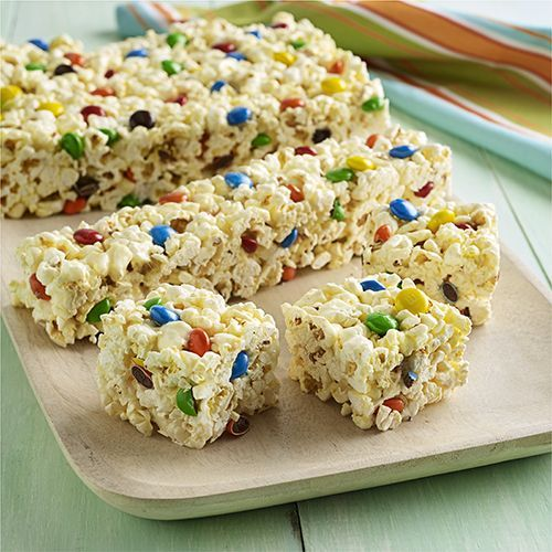 Marshmallow Popcorn Bars with Chocolate Candies