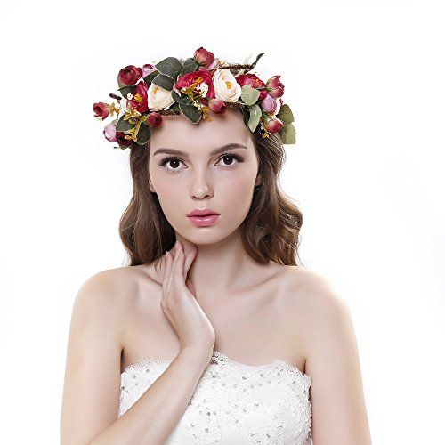 Scala Hot Women Girl Bride Hair Wreaths Flower Headband Camellia Crown Forehead…