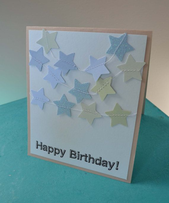 Star Garland Birthday Card! Blank inside for your personal message. Etsy: MilestonesandPebbles, $5.09