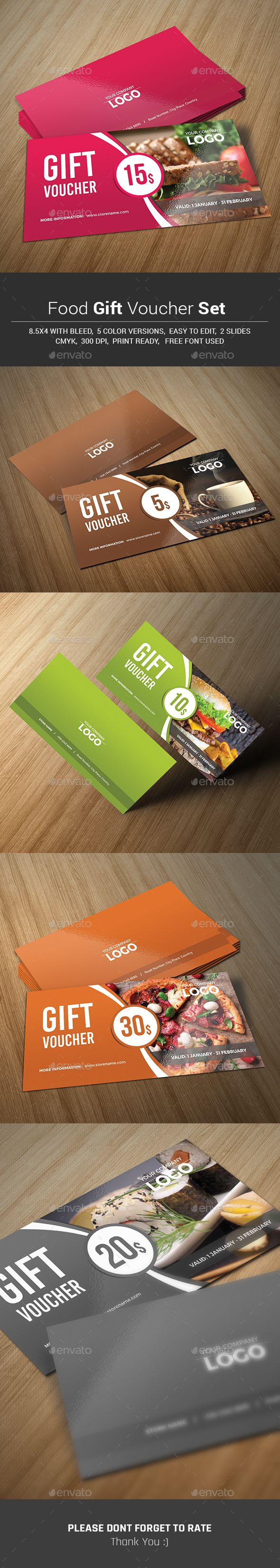 Food Gift Voucher Set Template PSD #design Download: http://graphicriver.net/item/food-gift-voucher-set/13993077?ref=ksioks