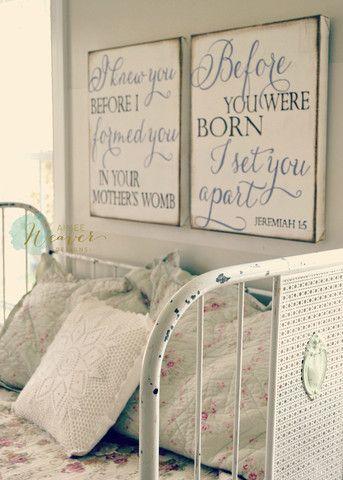 """I knew you before I formed you"" Canvas Art Set {customizable} Nursery idea"