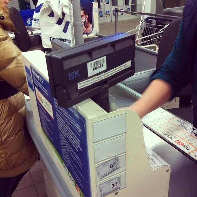 #ibm #pointofsale #POS #terminal #product in the #life #supermarket in the #north of #piter #russia