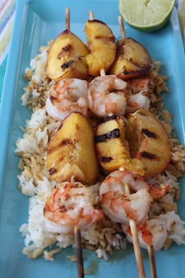 Grilled Peaches and Shrimp Shish Kabobs/ #SundaySupper  from The Freshman Cook