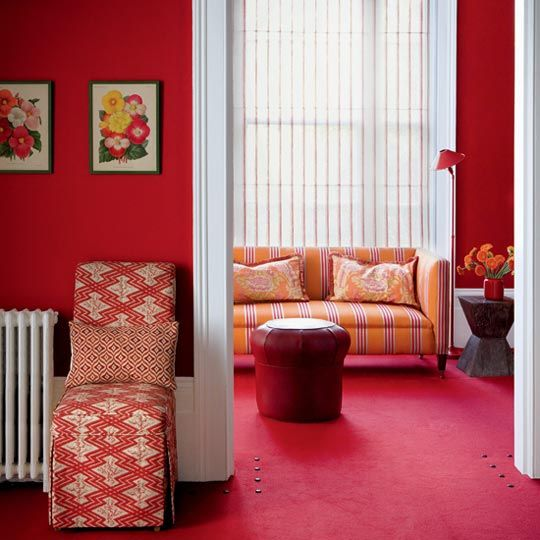 Red And White Color Interior Paint Ideas For Living Room Walls