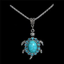 Small Antique Silver Crystal Tortoise Pendant Necklace Turquoise Necklace Long Sweater Chain TL185 FREE SHIPPING(China (Mainland))