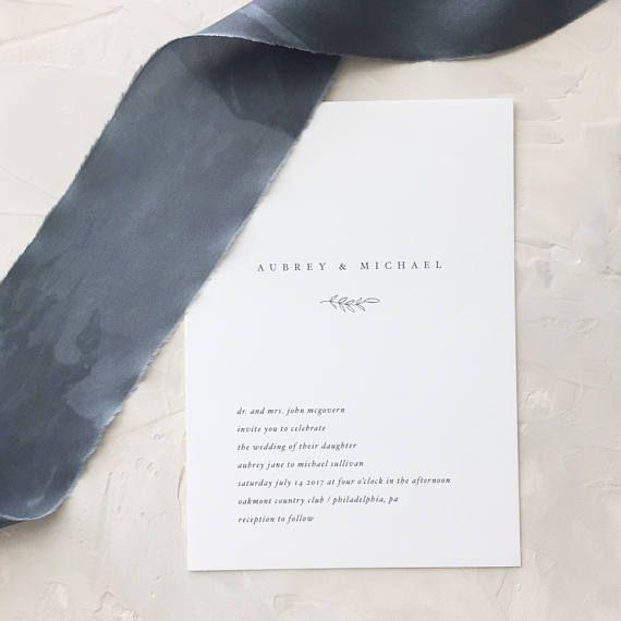 Simple Wedding Invitation Sample  Aubrey  Letterpress