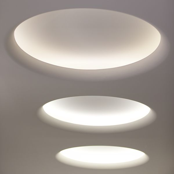 "USO 140 - Family of luminaires manufactured with Soft Composite technology and designed to house FLOS architectural project. Circle is 35"" diameter opening constructed as 55"" square panel."