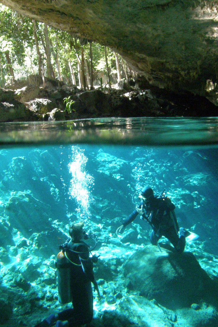 "SISTEMA DOS OJOS The world's third longest underwater cave system. SISTEMA DOS OJOS ""Two Eyes""""Cenote Dos Ojos"", Riviera Maya."