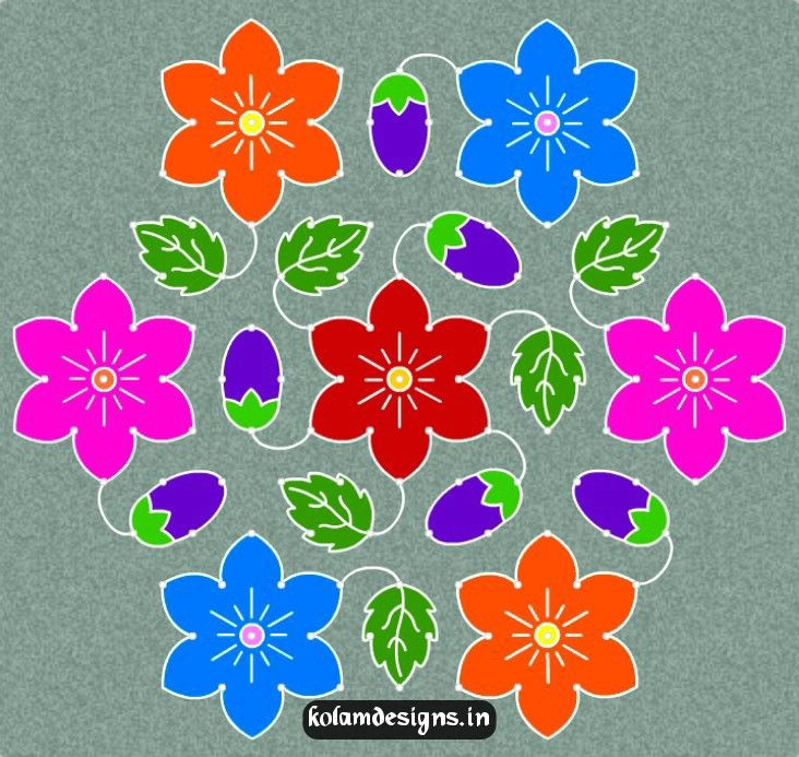 Simple Kolam frequently drawn in Indian Homes   13 - 7 Idukku Pulli Kolam 13 - 7  Crossed Dots Provide dual layer in order to add brightness to kolam and R