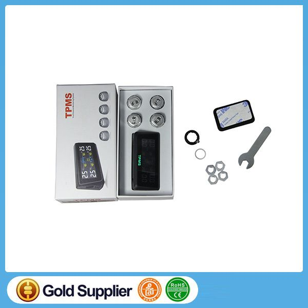 LCD Panel Solar Power Supply Tire Pressure Monitoring System (TPMS) for car with External Sensors Tyre Safety Car Alarm system
