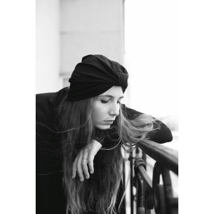 Nurmi clothing Anita – Black organic cotton women's turban