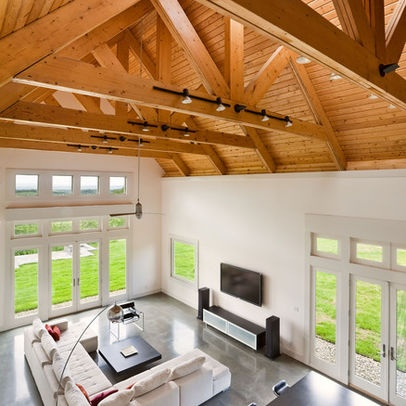 Raked ceiling with exposed beams