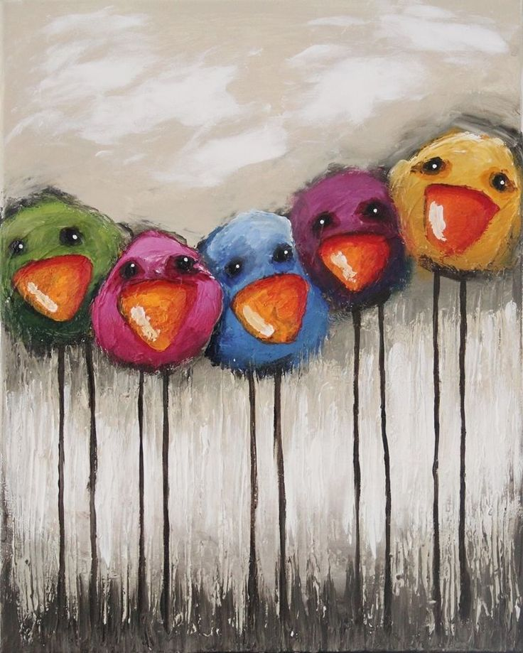 Original acrylic canvas painting whimsical bird richly textured bright colorful #Modernism