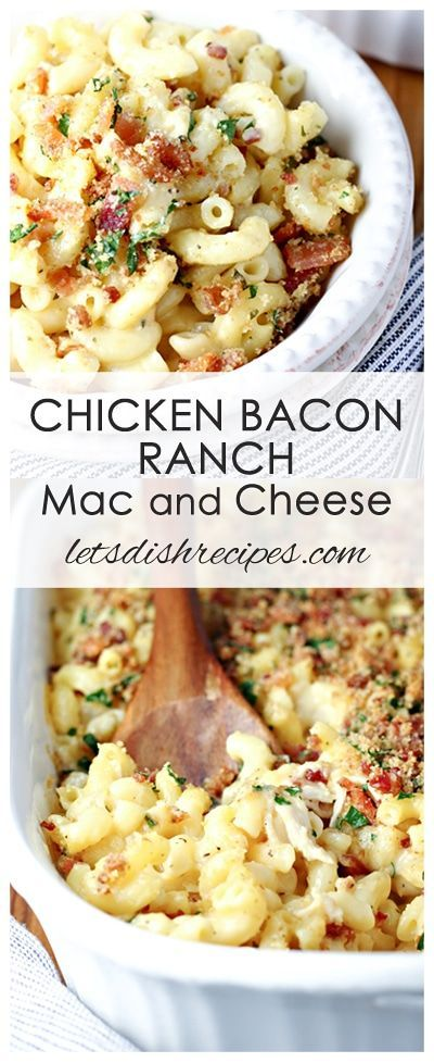 Chicken Bacon Ranch Mac and Cheese Recipe   Elbow macaroni baked in a three cheese sauce, with chicken and bacon, and topped with crispy bread crumbs.