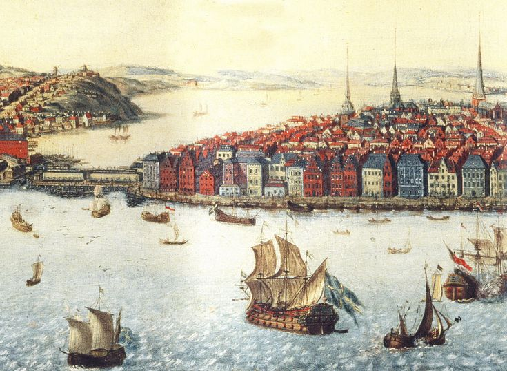 "Stockholm. Skeppsbron circa 1700, painting after Willem Swiddes copper plate ""Stockholm from Kastellholmen"" from 1693. Date 	1700  Source 	Stockholms stadsmuseum.   Thord Lindé performing Fredmans epistel no.33 ""Stolta Stad"" or ""Was ist das? Ge rum vid Roddar-trappan""   Click on the link - ""Open in a new window"" (Because pinterest has blocked linking directly...) http://www.youtube.com/watch?v=xFcuH6iOOyg"