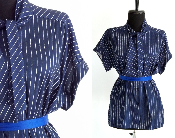 FINAL SALE / vintage nautical blouse / navy and by LoverlyVintage, $2.00