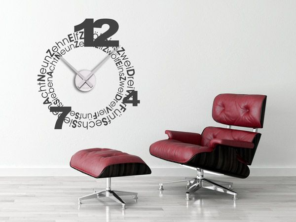 19 best xxl uhren gro e wanduhren als wandtattoos images on pinterest large clocks for walls. Black Bedroom Furniture Sets. Home Design Ideas