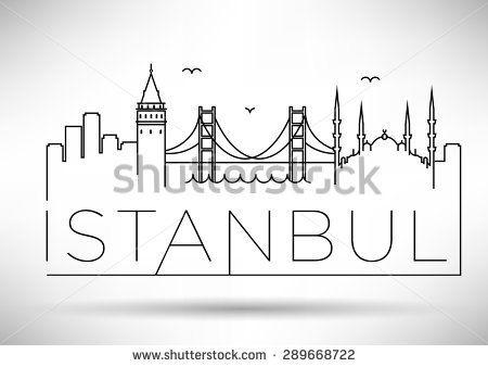 Istanbul City Line Silhouette Typographic Design