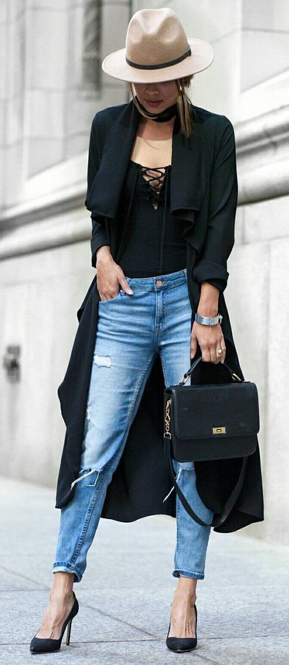 #fall #outfits ·  Cream Hat // Ripped Jeans // Black Pumps // Black Trench // Black Top