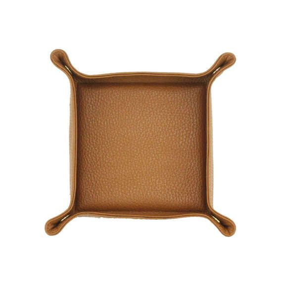 Leather Valet Tray | Catch All  | Travel Tray Set - CAMEL BROWN by MISHKA