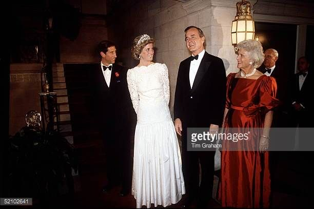 Prince Charles Prince of Wales Princess Diana Princess of Wales VicePresident George Bush and his wife Barbara Attending A Dinner At The British...
