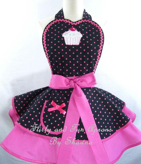 Hot Pink Polka Dot Cupcake Apron by sjcnace4 on Etsy, $55.00