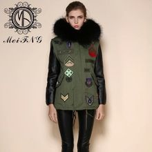 high fashion OLD NAVY casual army style fox fur coat for sale