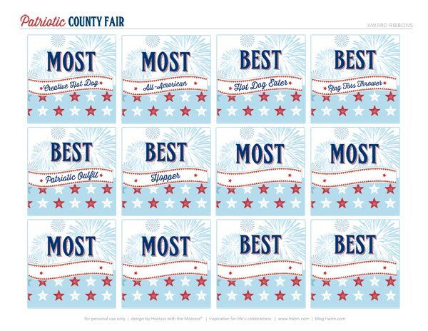 """FREE Printables: """"All-American County Fair"""" July 4th Party"""