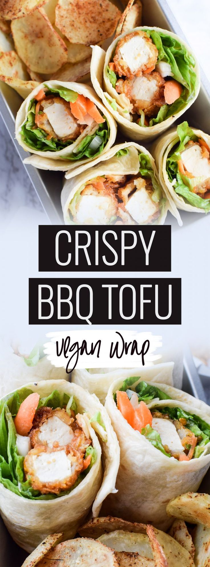Crispy BBQ Tofu Wraps / Vegan Lunch / Easy Vegan Lunch / Plant Based Lunch / Crunchy Tofu / Meal Prep Lunch / Lunch Box Lunch / Vegan Bento Box / School Lunch Idea / Vegan Meal Prep / Healthy Lunch / Vegan Wrap