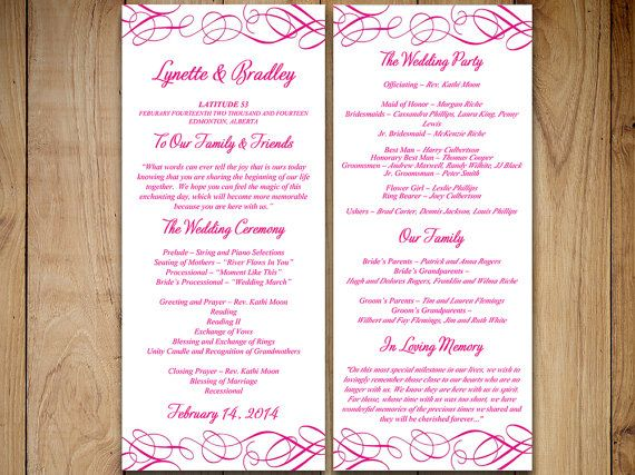 Best  Diy Wedding Program Template Ideas On   Wedding